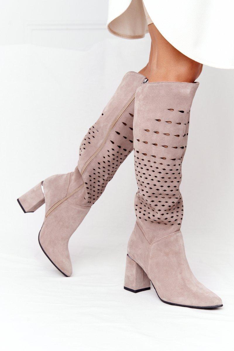 Spring Openwork Suede Boots Lewski Shoes 2847/B Beige