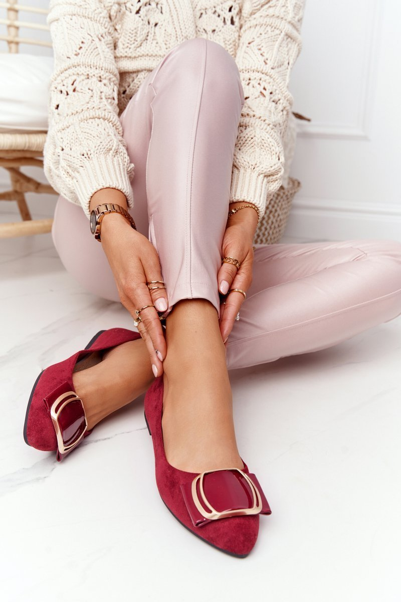 Suede Ballerinas With A Buckle Sergio Leone BL623 Burgundy