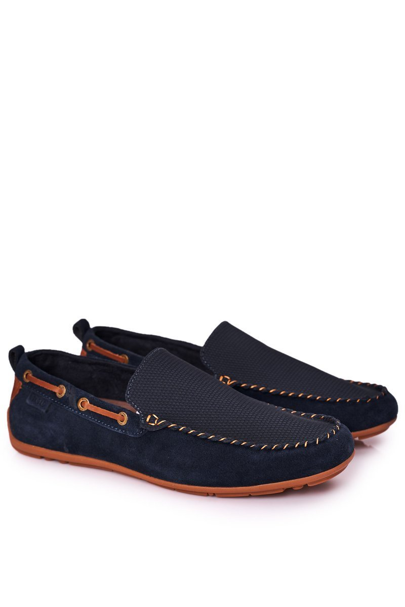 Suede Casual Loafers GOE HH1N4019 Navy Blue