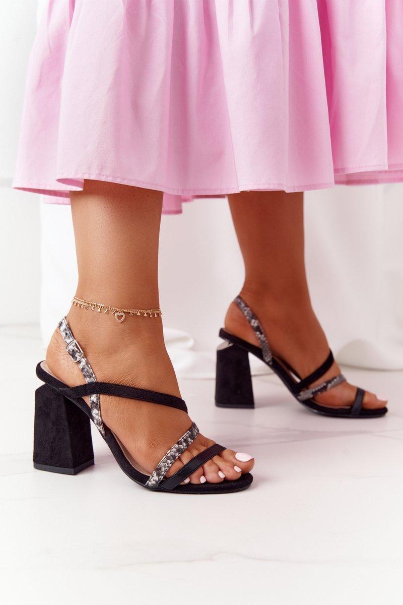 Suede Heeled Sandals S.Barski LJ432-1 Black