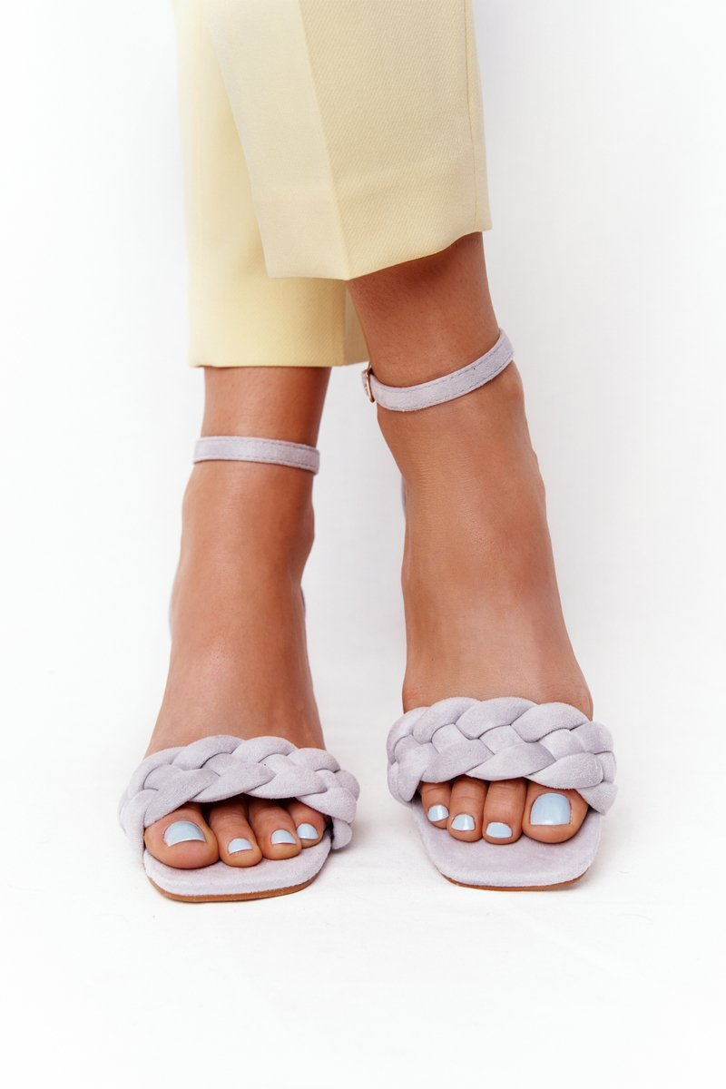 Suede High Heel Sandals Grey Long Island