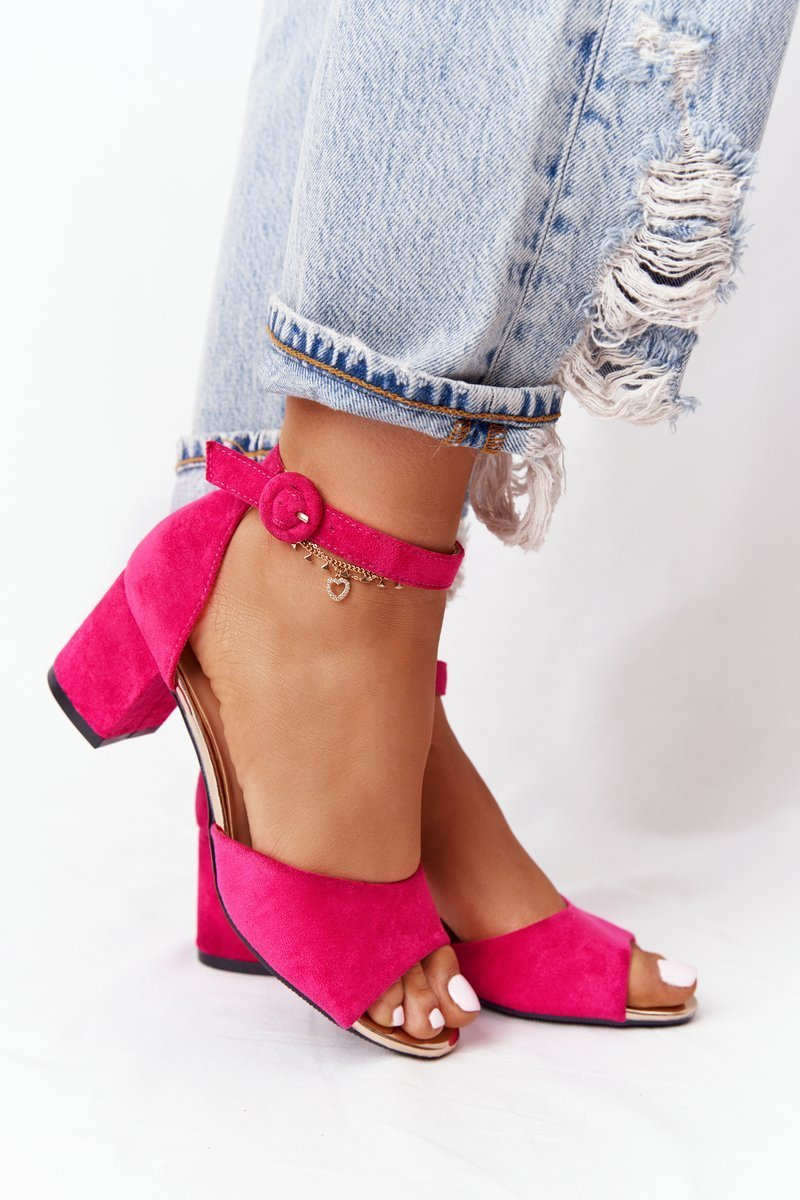Suede High Heel Sandals Vinceza 21-20100 Fuchsia