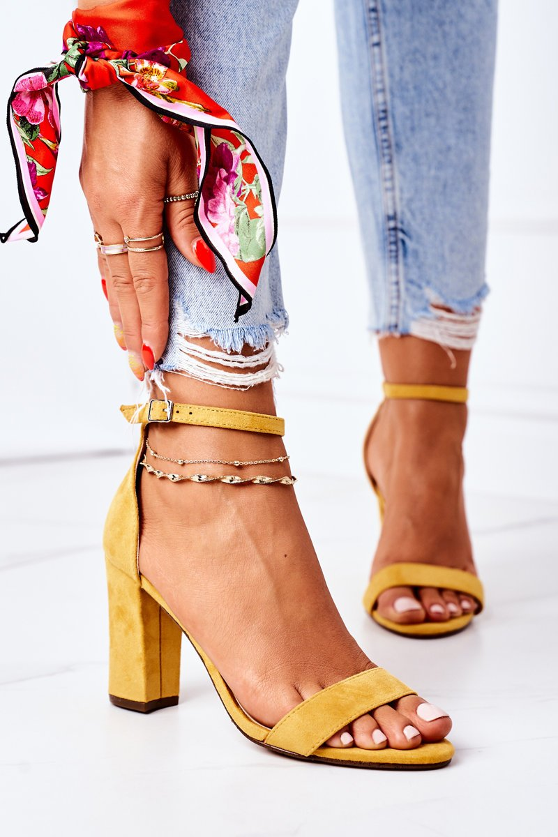 Suede High Heel Sandals Yellow Florence