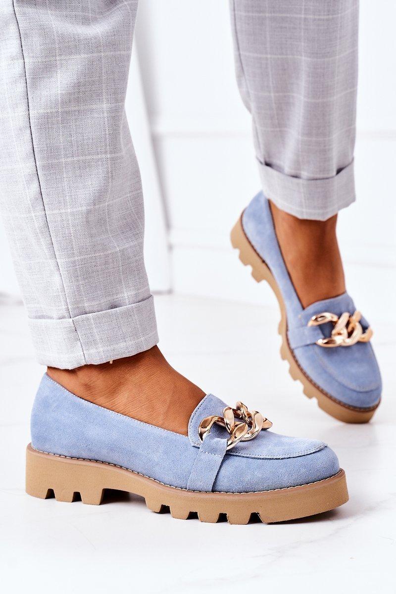 Suede Moccasins Lewski Shoes 3040 Light Blue