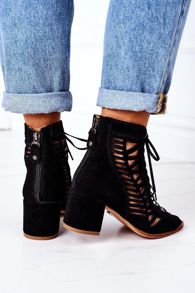 Suede Openwork Boots Maciejka Camel 04040-01 Black