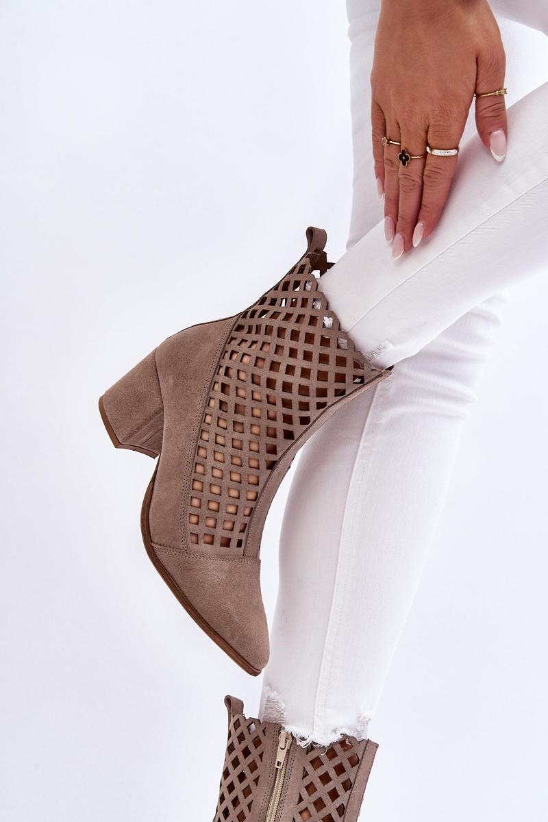 Suede Openwork Boots On High Heel Nicole 2638 Cappuccino