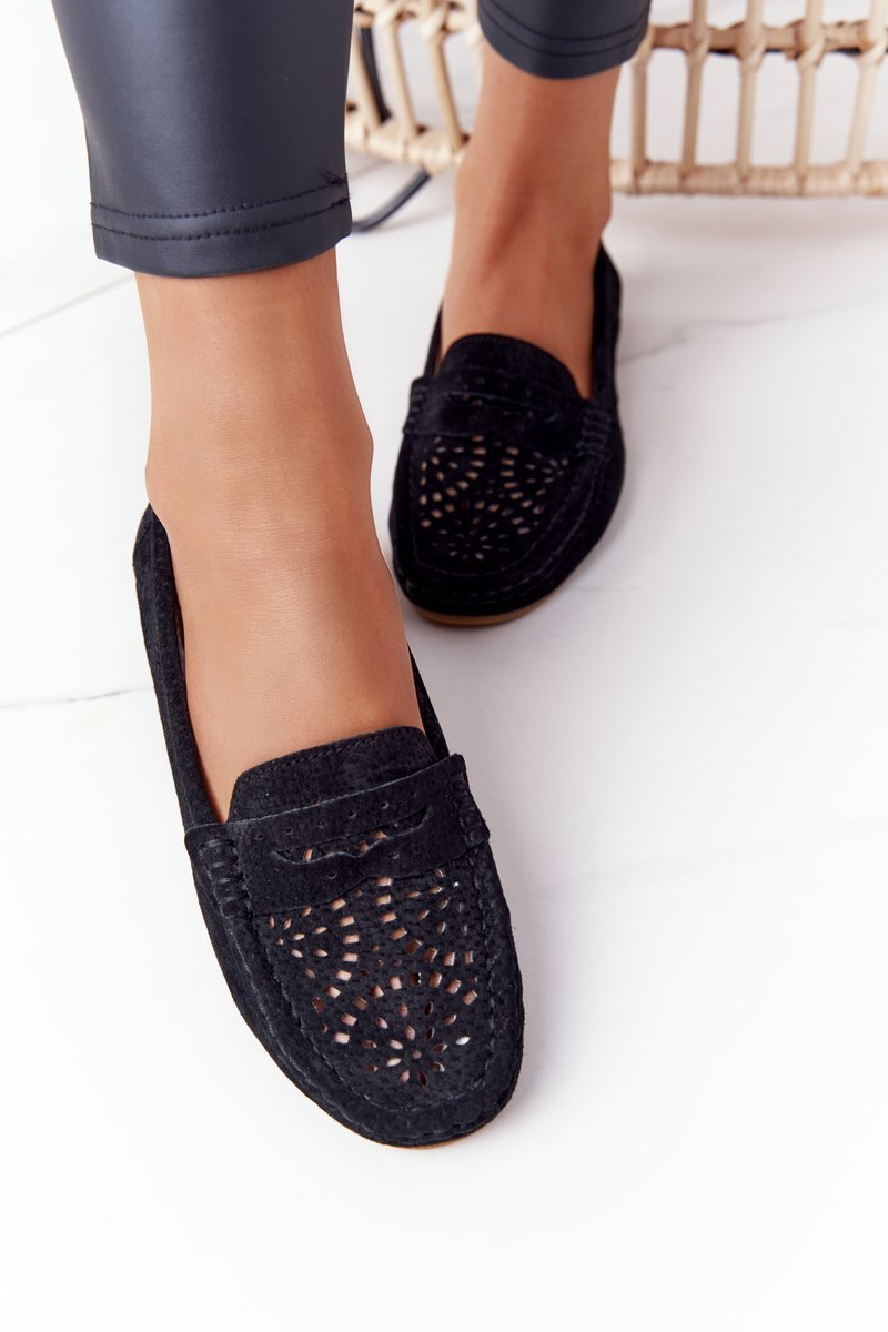 Suede Openwork Women's Loafers S.Barski Black