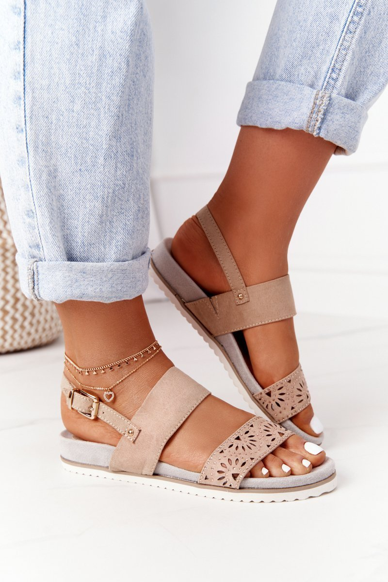 Suede Sandals With Cubic Zirconia Beige Cora
