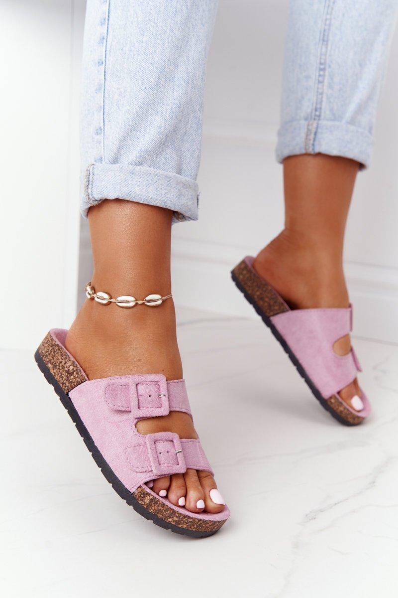 Suede Slippers On The Cork Sole Light Purple Jennifer