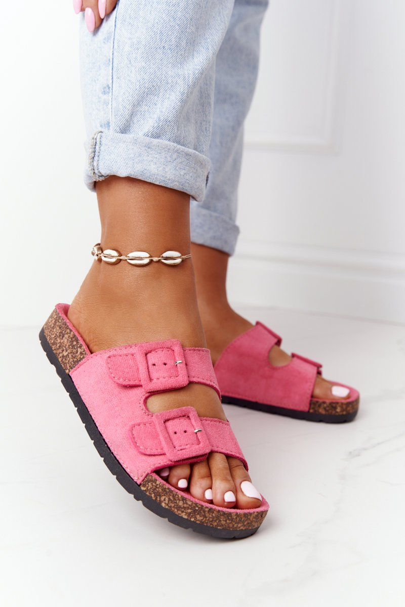 Suede Slippers On The Cork Sole Pink Jennifer