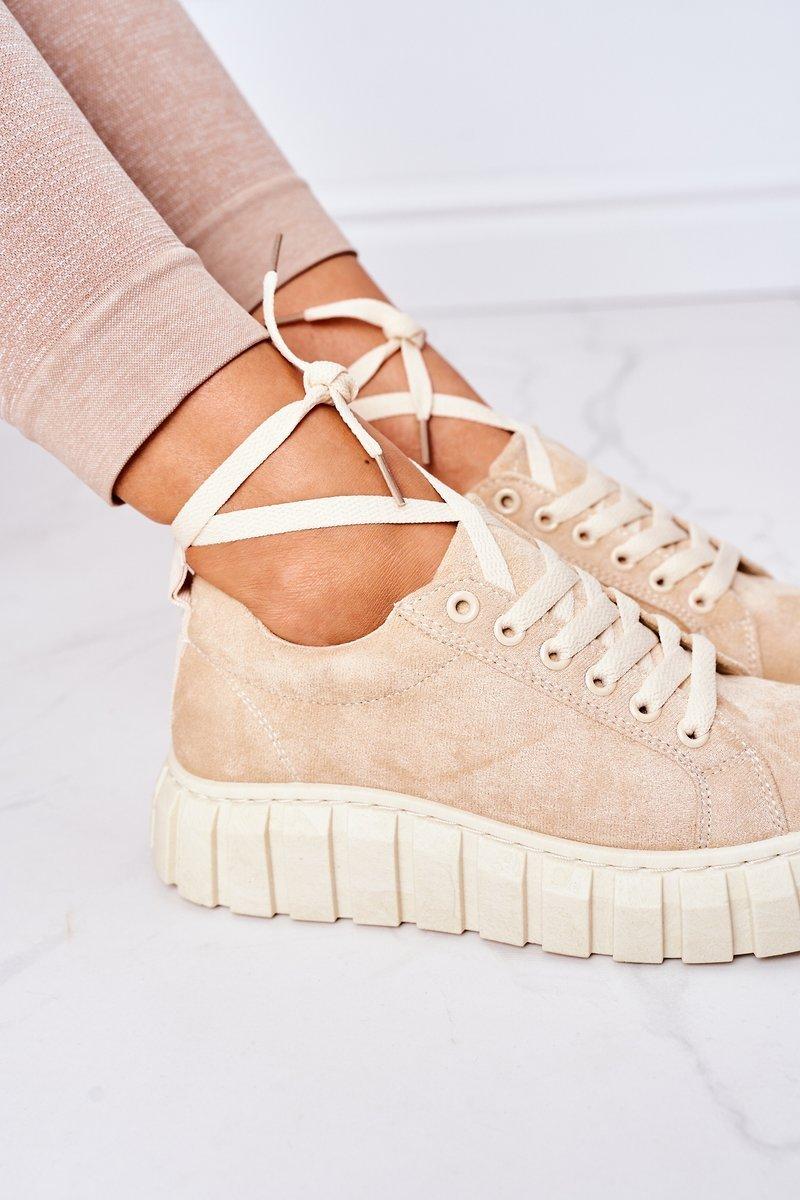 Suede Sneakers On A Platform Beige Whatever