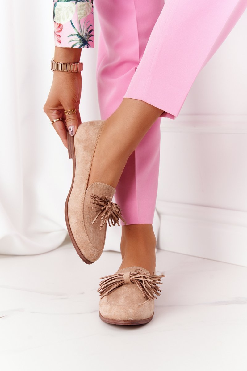 Suede Women's Loafers With Fringes Beige Alicante