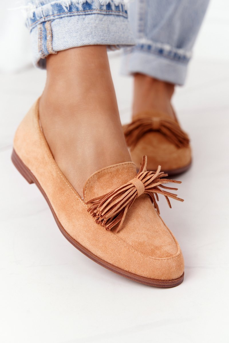 Suede Women's Loafers With Fringes Camel Alicante