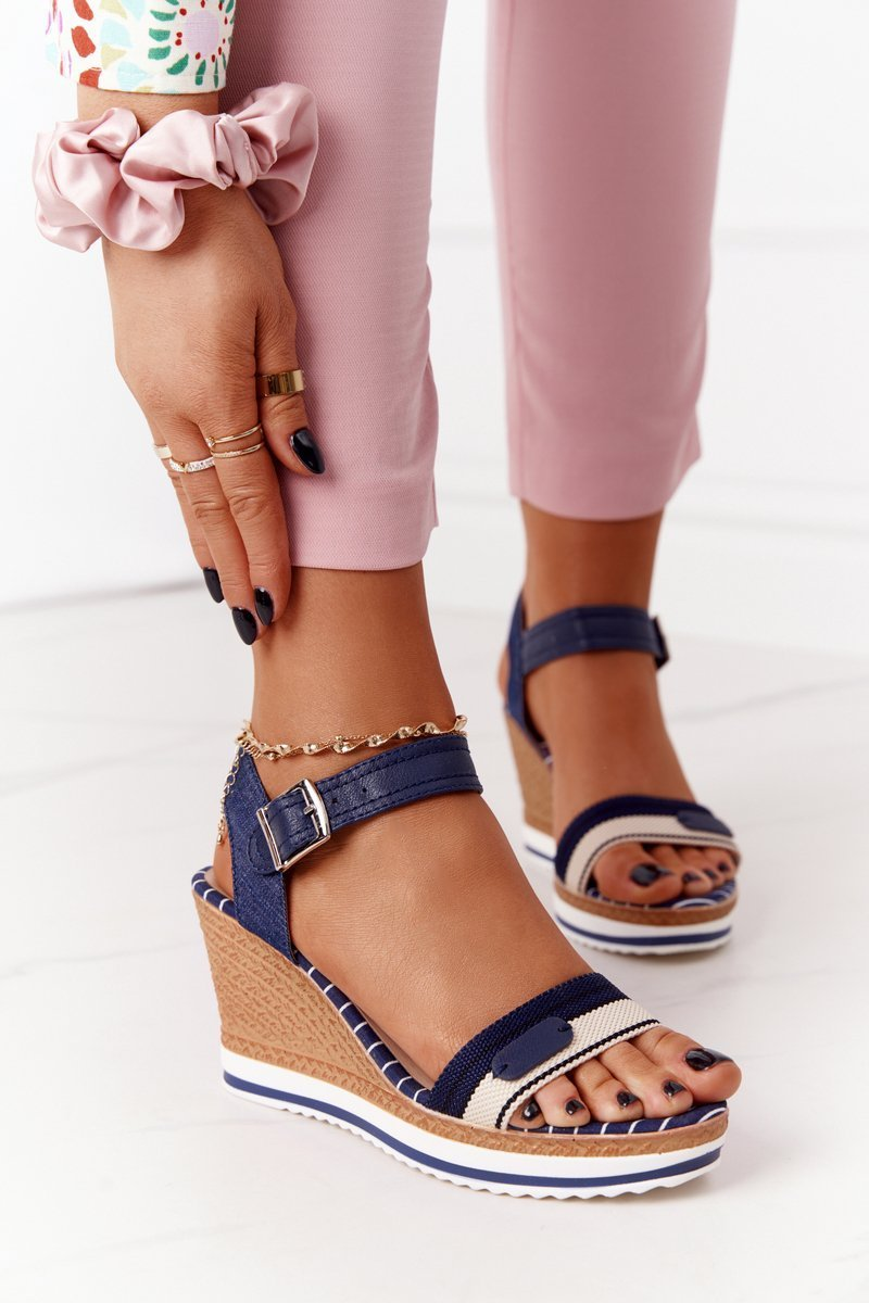 Wedge Sandals In Sailor Style Navy Blue Tropical