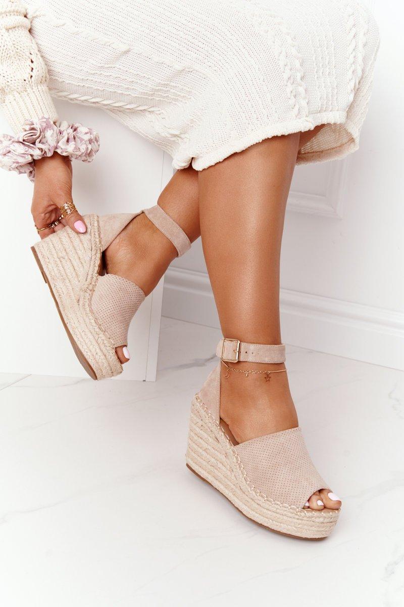 Wedge Sandals With Braids Beige Makenna