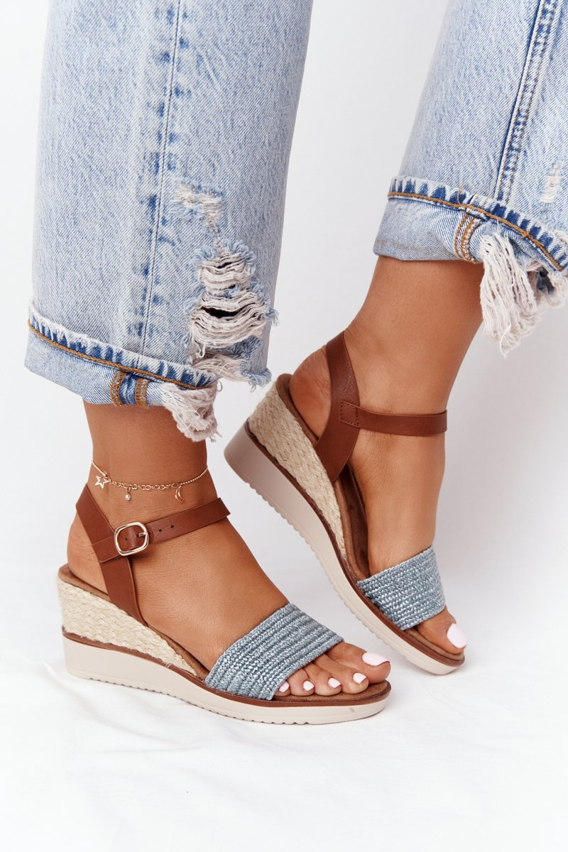 Wedge Sandals With Braids Blue Tenerife