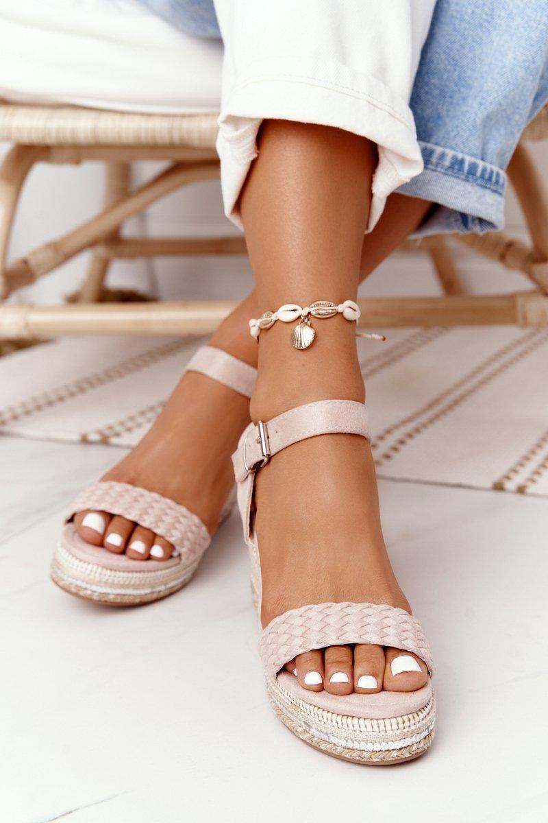 Wedge Sandals With Sequins Beige Scilla