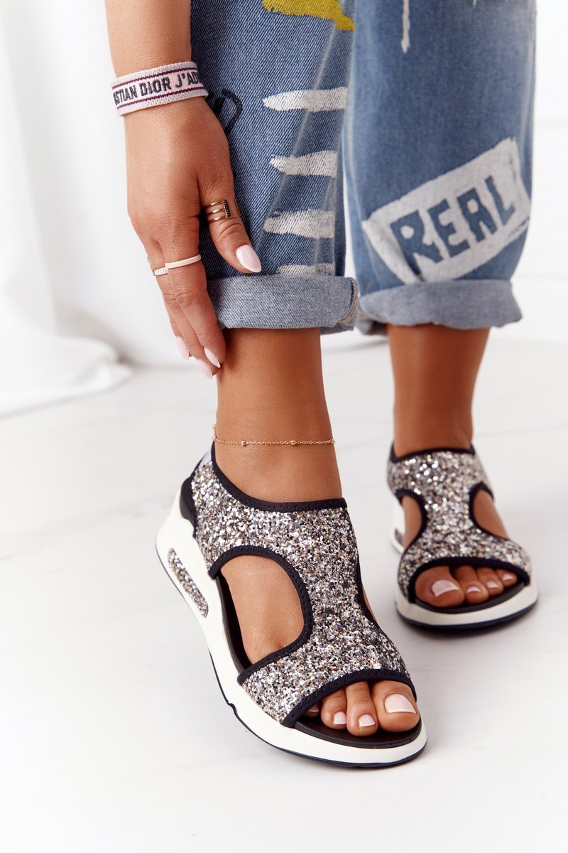Wedge Slip-On Sandals Silver With Glitter Zoey
