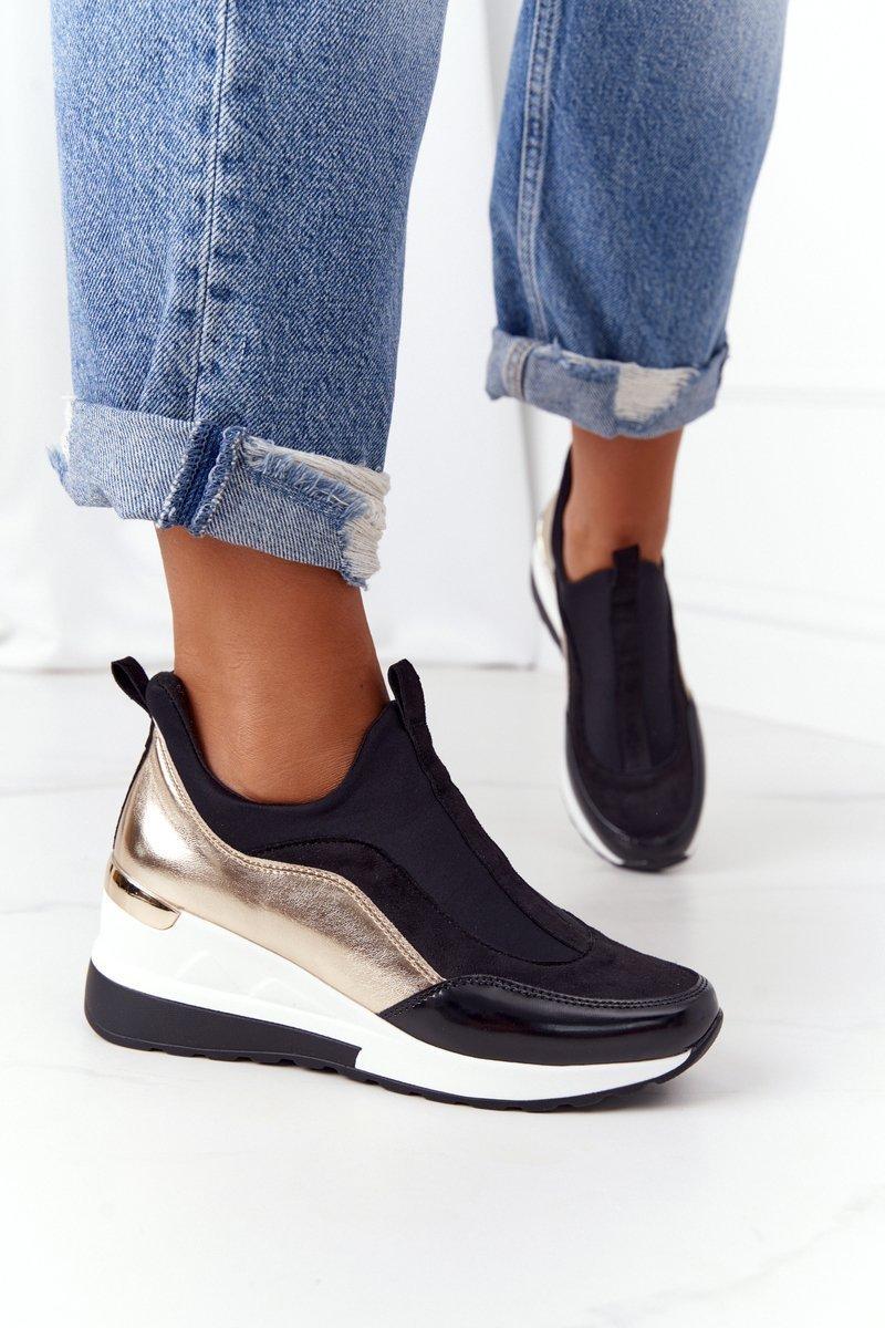 Wedge Sneakers Slip-On Black-Gold City Beat