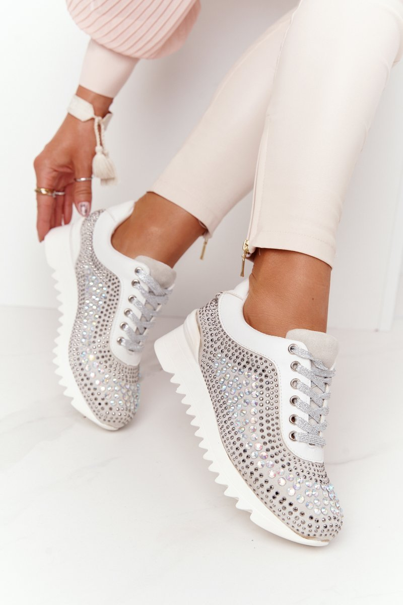 Wedge Sneakers With Sequins Lu Boo Grey