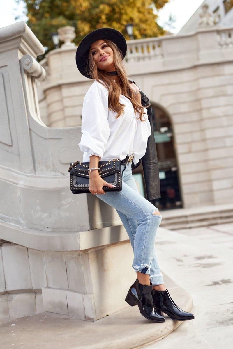 Women's Boots On A Block Heel Sergio Leone BT153 Patent Black