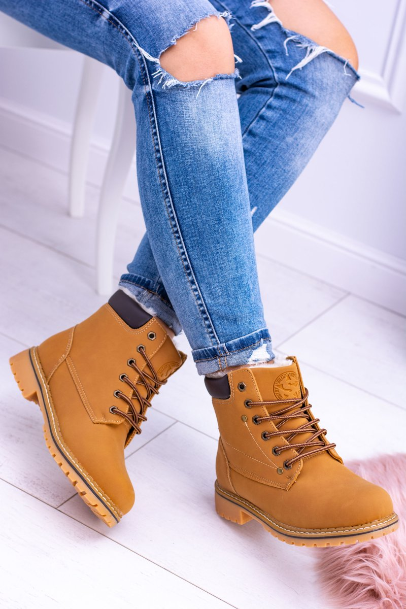 Women's Camel High Boots With Fur by Smith's Polari