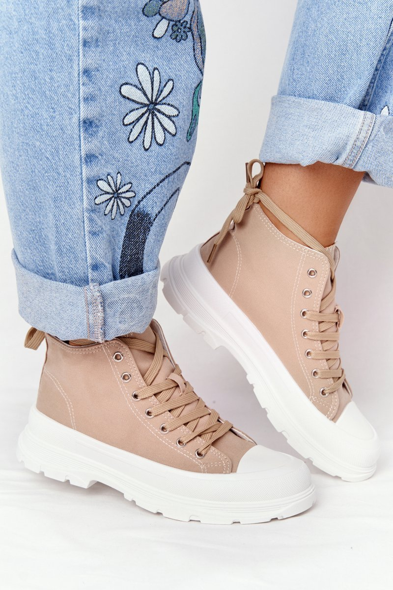 Women's High Sneakers On A Chunky Sole Light Brown Trissy
