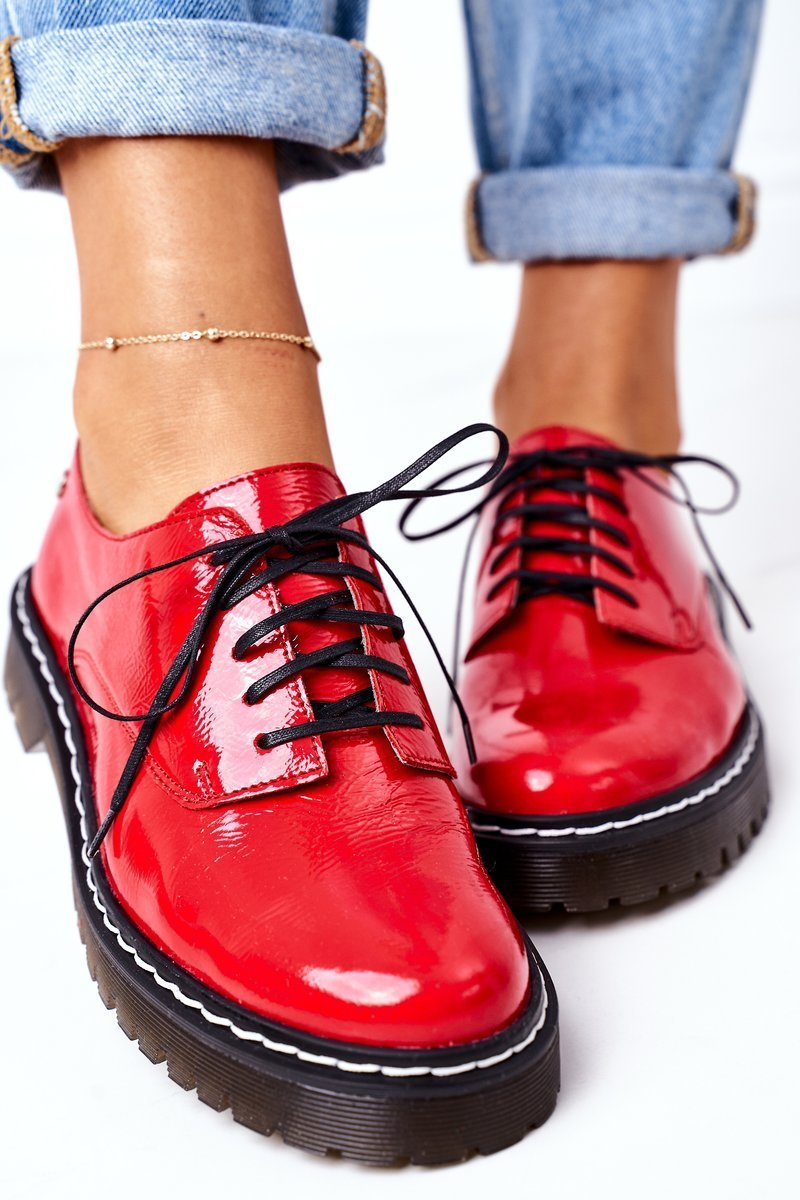 Women's Leather Brogues Oxfords Maciejka 04087-08 Red