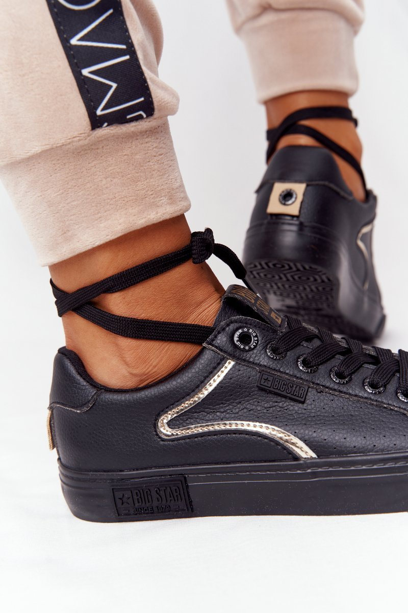 Women's Leather Sneakers BIG STAR HH274078 Black-Gold