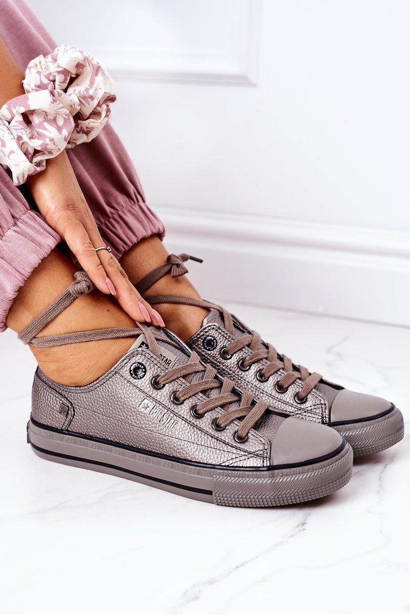 Women's Leather Sneakers BIG STAR II274003 Pewter