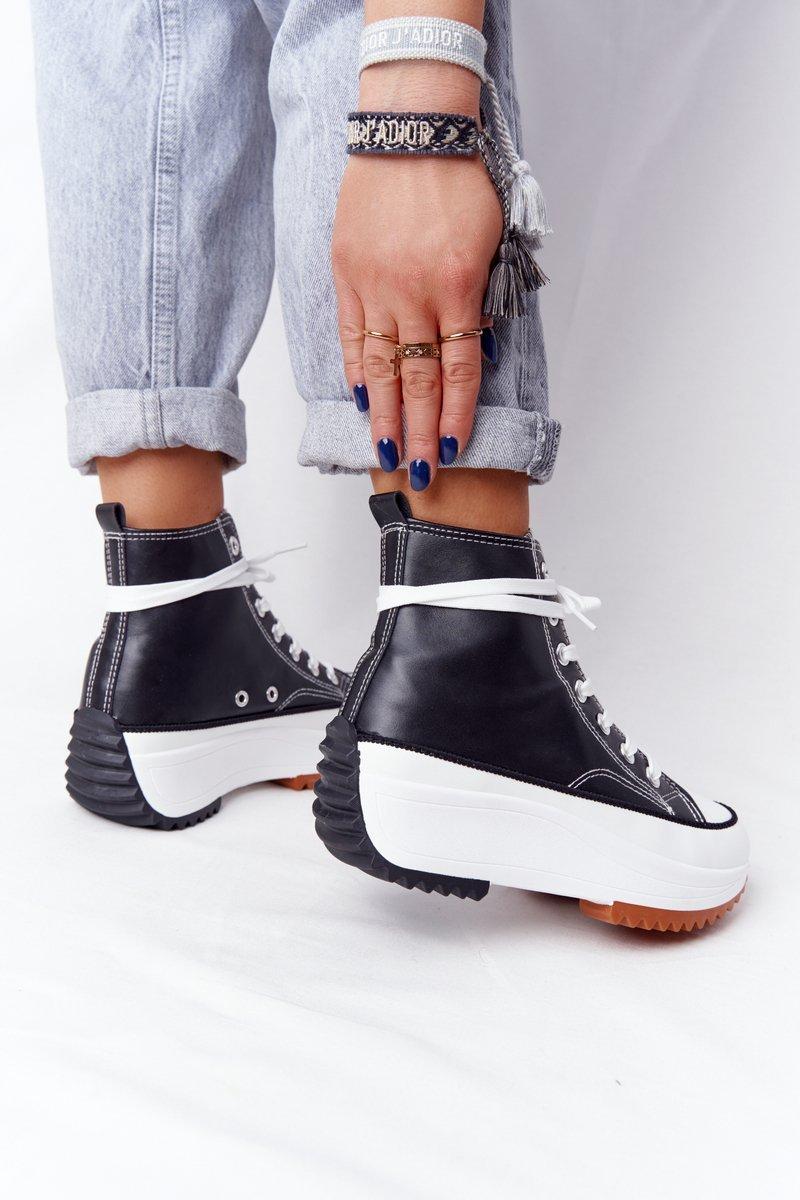 Women's Leather Sneakers On A Platform Black Coachella