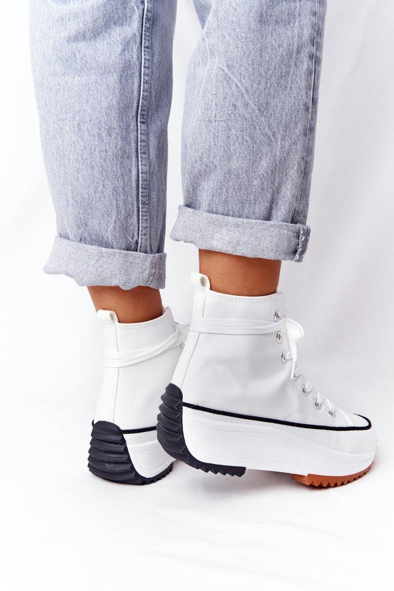 Women's Leather Sneakers On A Platform White Coachella