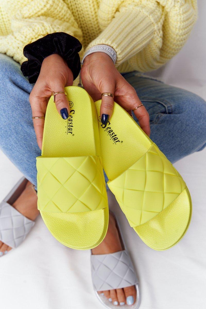 Women's Rubber Slippers Neon Yellow Let's Swim