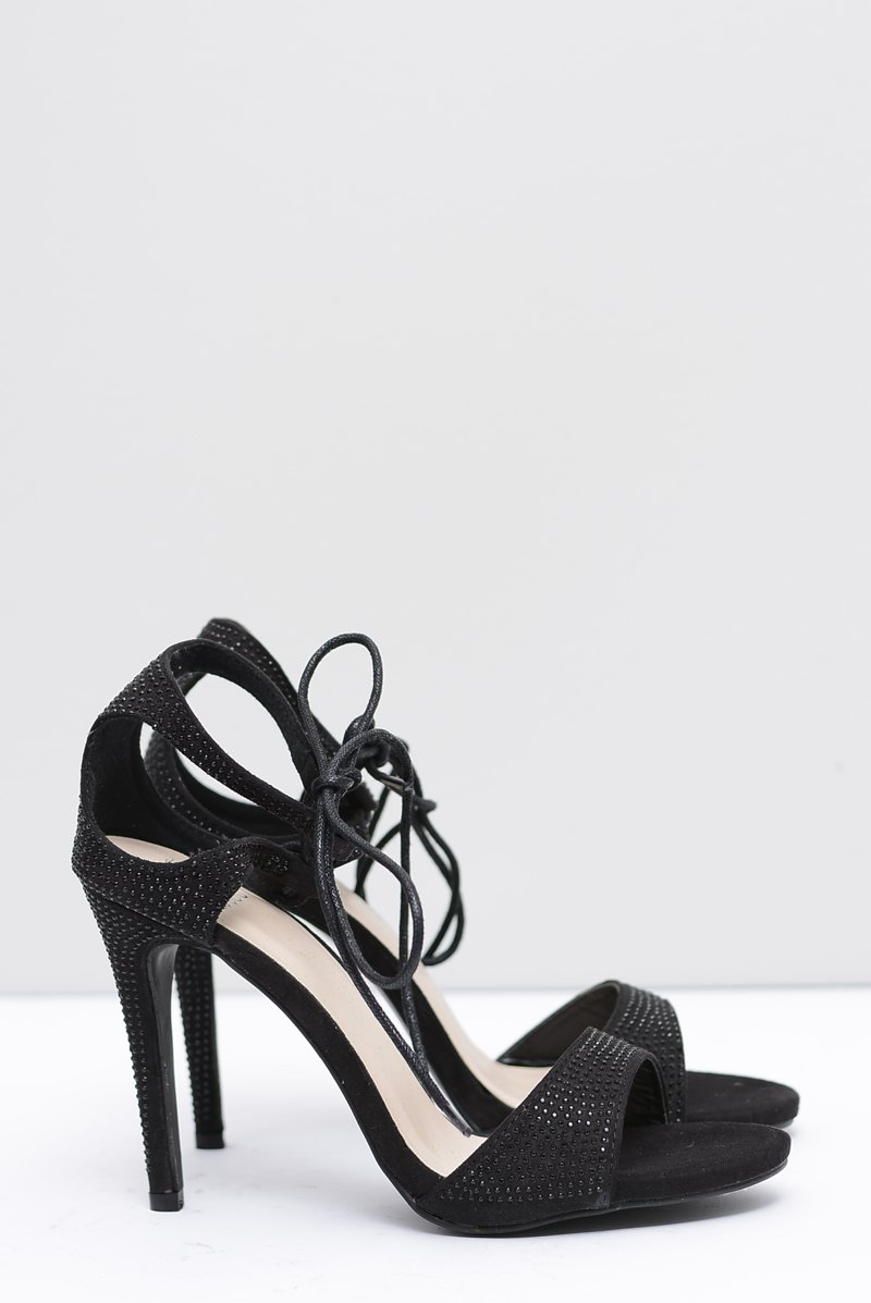 Women's Sandals On High Heel With Zircons Black Belona