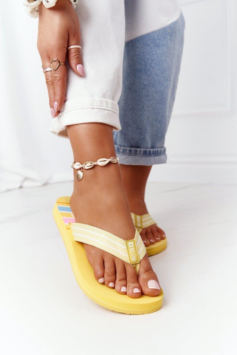 Women's Sliders Flip-Flops Big Star HH274A055 Yellow