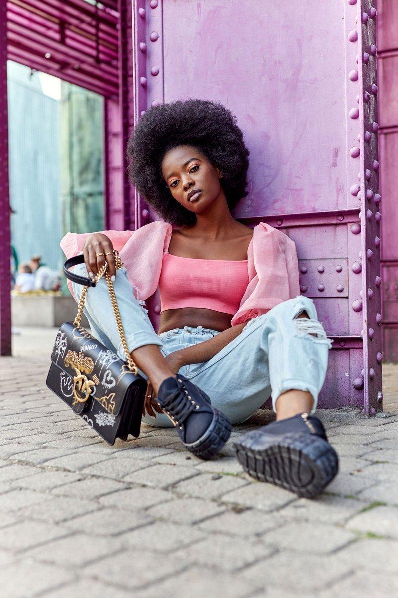 Women's Sneakers On A Platform Black Big City Life