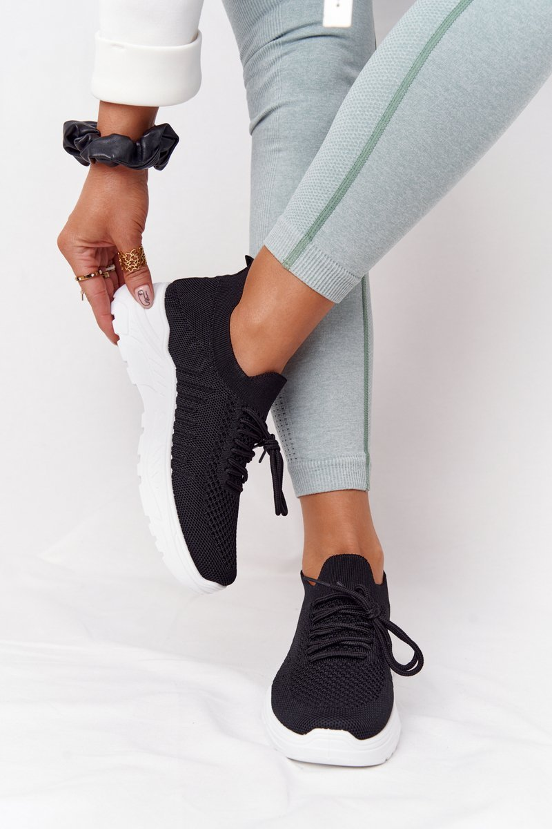 Women's Sport Shoes Sneakers Black With White Sole Ruler