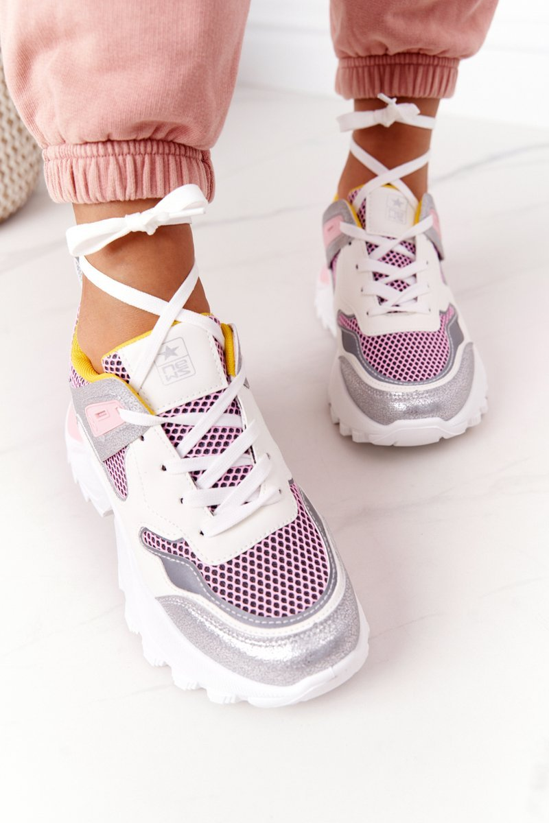 Women's Sports Shoes Sneakers White-Pink Infinity