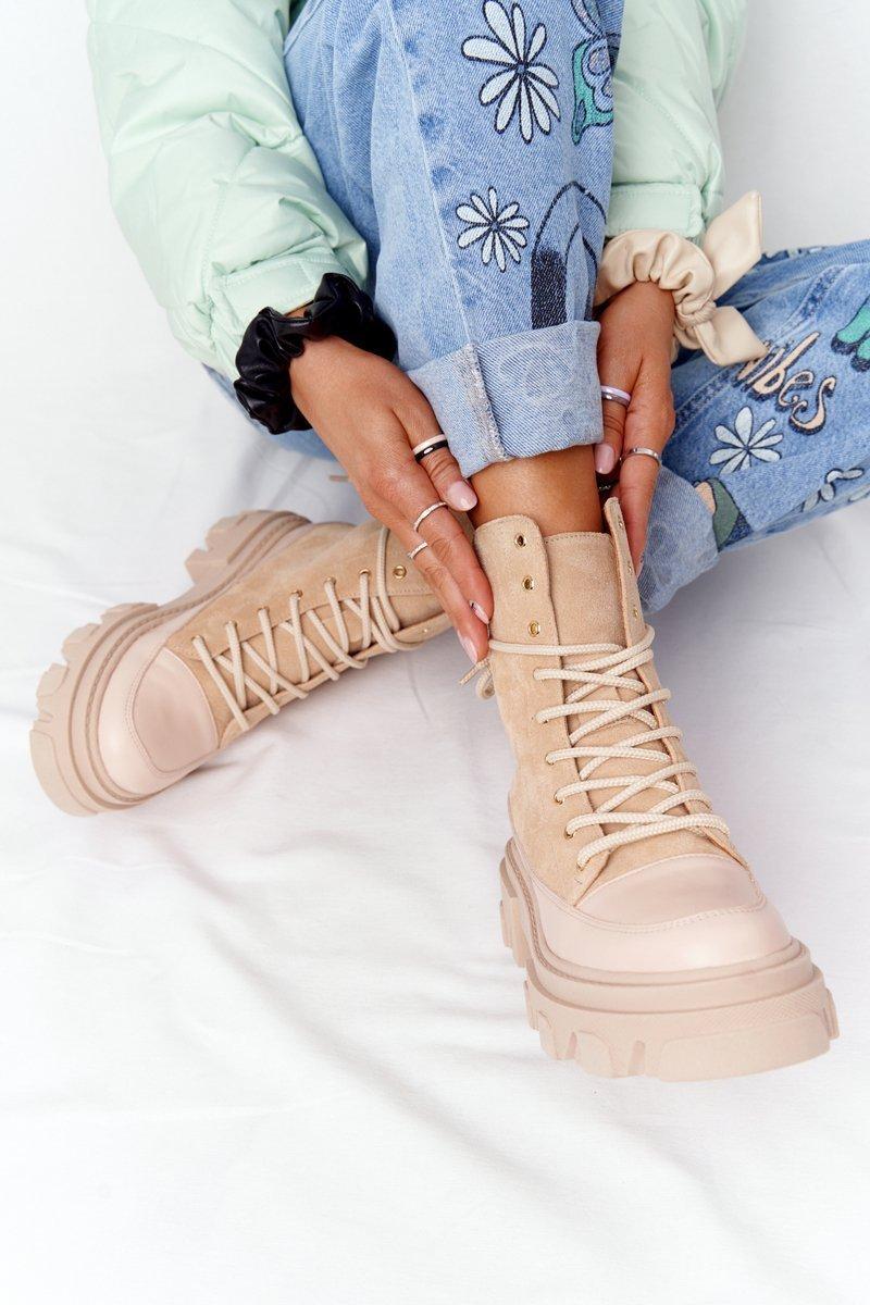 Women's Suede Boots Lewski Shoes 3007-0 Sand