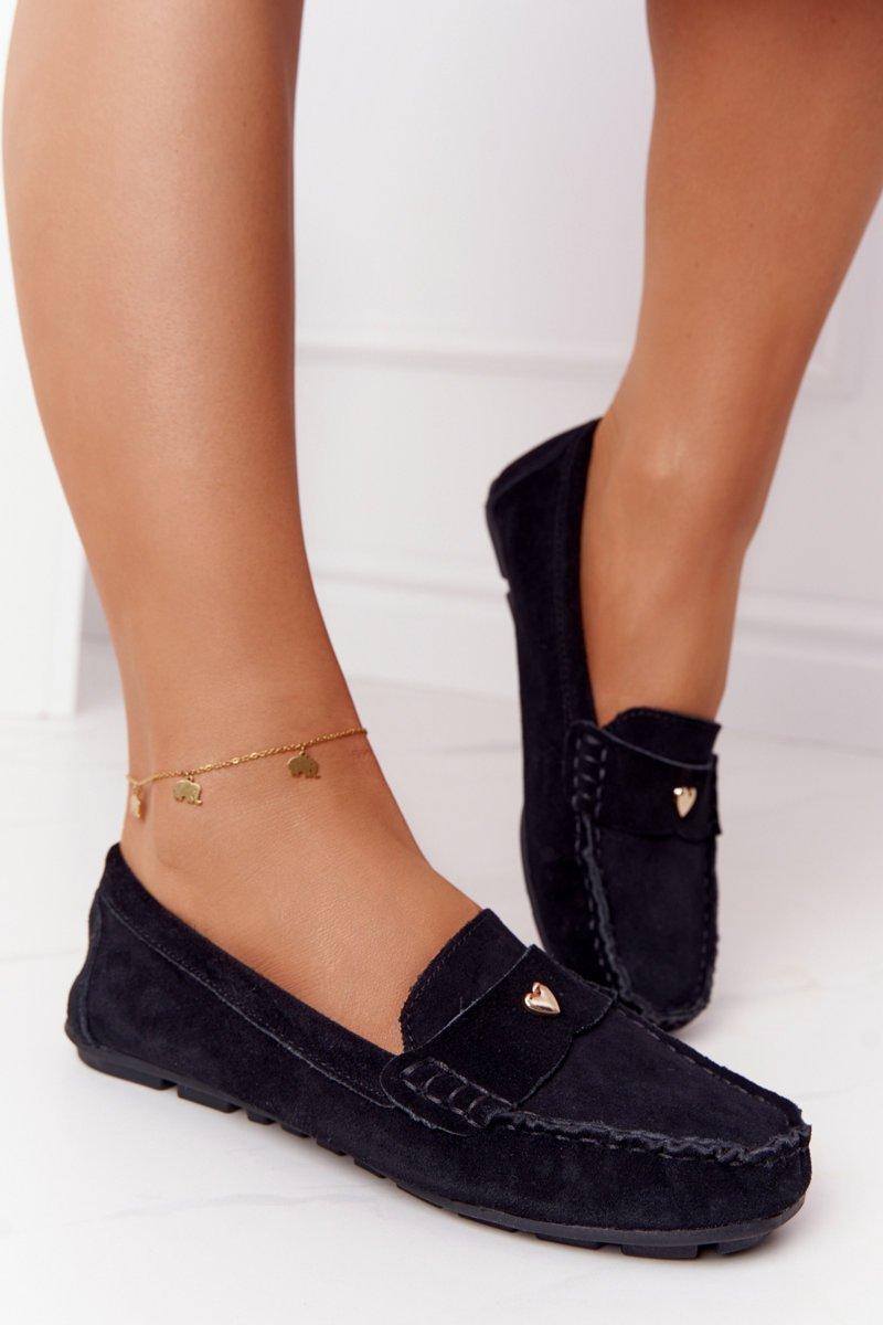 Women's Suede Loafers S.Barski Black