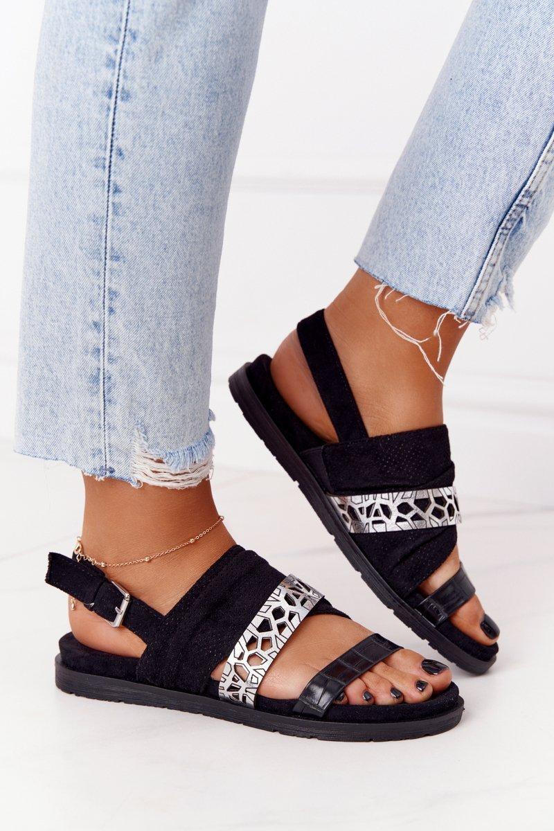 Women's Suede Sandals Black-Silver Asturia