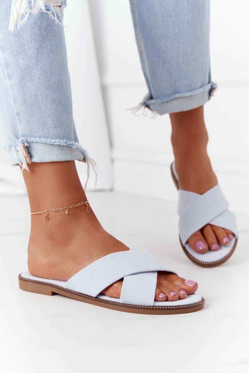 Women's Suede Slippers Light Blue Edesa