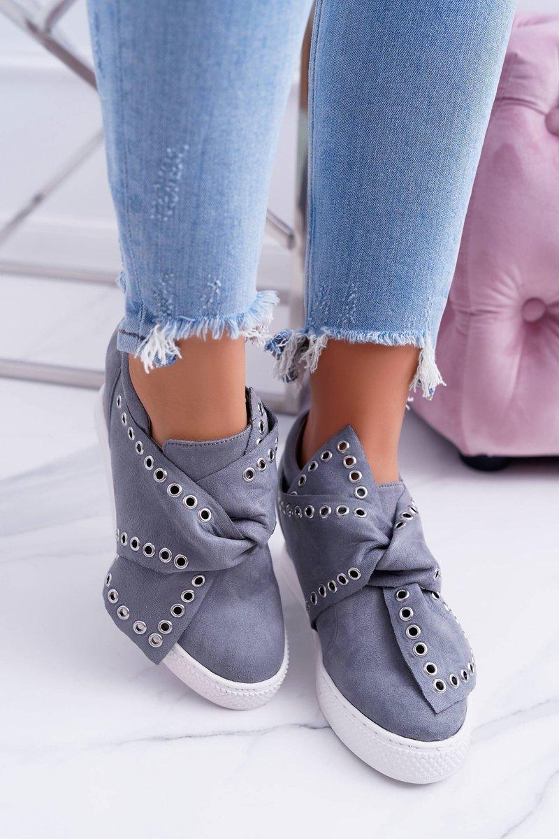 Women's Wedge Sneakers Grey LU BOO Margo