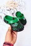 Children's Foam Slippers Crocs Black-Green Jupiter
