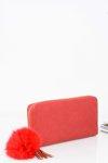 Duży Damski Czerwony Portfel Złoty Zamek Brelok Futerko