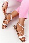 Leather Flat Sandals S.Barski LJ281 White-Silver