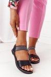 Leather Sandals With Drawstring S.Barski 934-19 Black