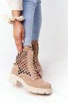 Openwork Suede Boots Lewski Shoes 3030-0 Sand