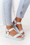 Sandals With Quilting On The Platform Blue Turn Around