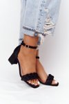 Suede High Heel Sandals Black Long Island
